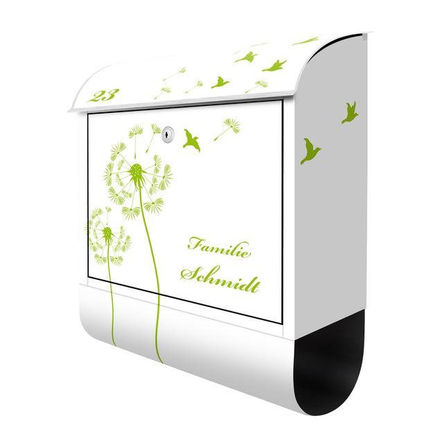 Briefkasten mit Zeitungsfach - Wunschtext Pusteblumen