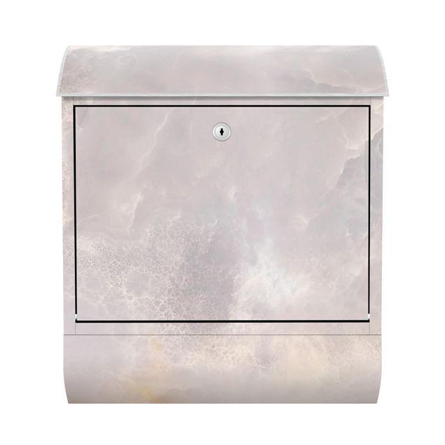Briefkasten - Onyx Marmor Grau - Briefkasten mit Zeitungsrolle