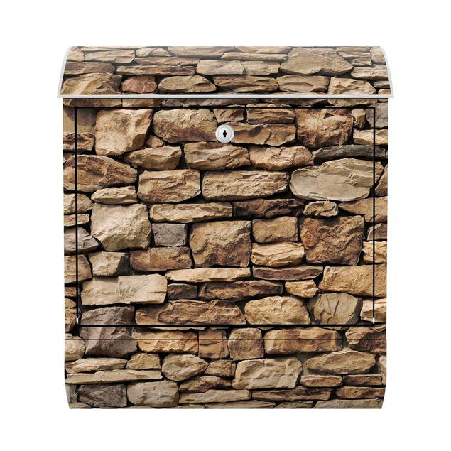 Briefkasten Steinoptik - Amerikanische Steinwand - Briefkasten mit Zeitungsrolle
