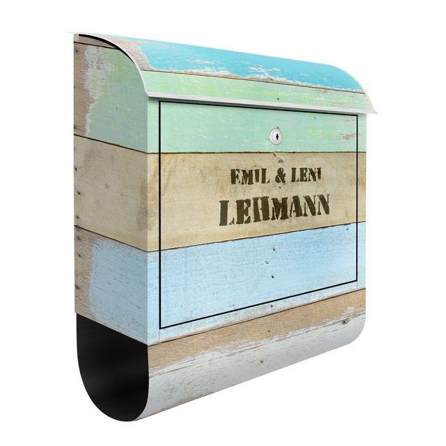 Briefkasten Vintage - Wunschtext Rustic Timber - mit eigenem Text & Hausnummer