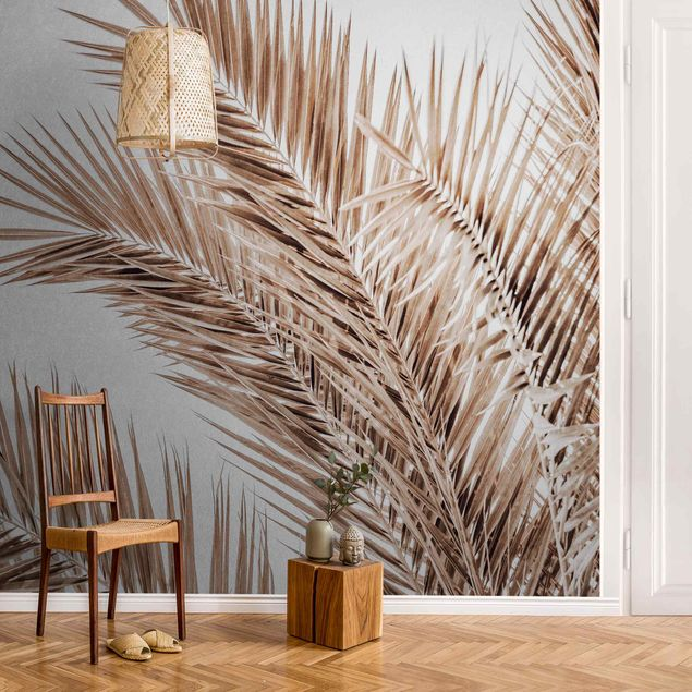 Metallic Tapete - Bronzefarbene Palmenwedel