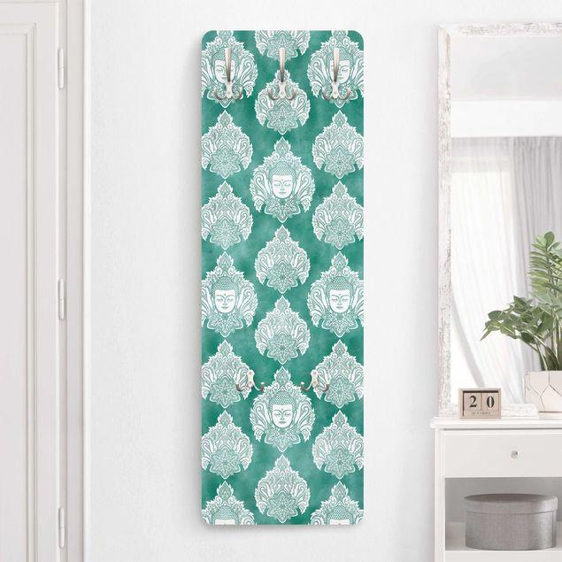 Garderobe - Buddha und Lotus Smaragdmuster