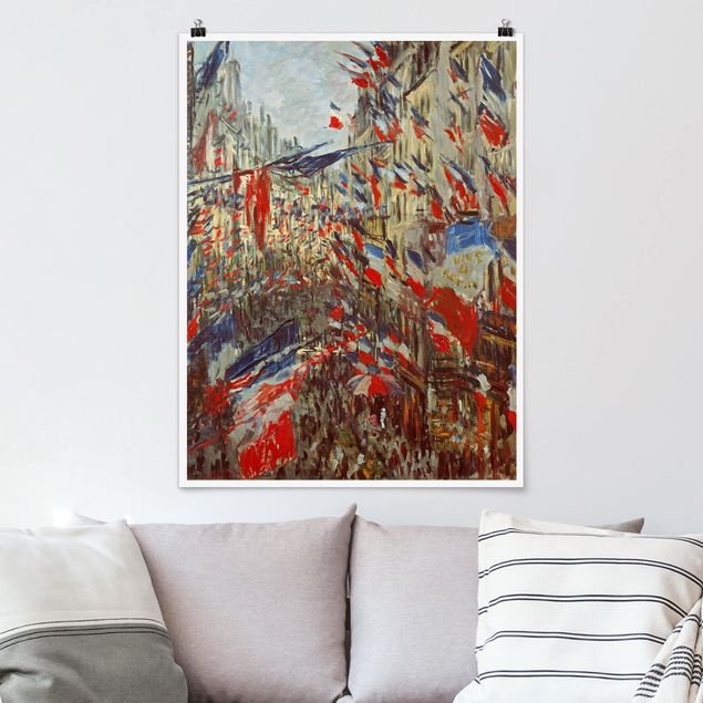 Poster - Claude Monet - Straße im Flaggenschmuck - Hochformat 3:4