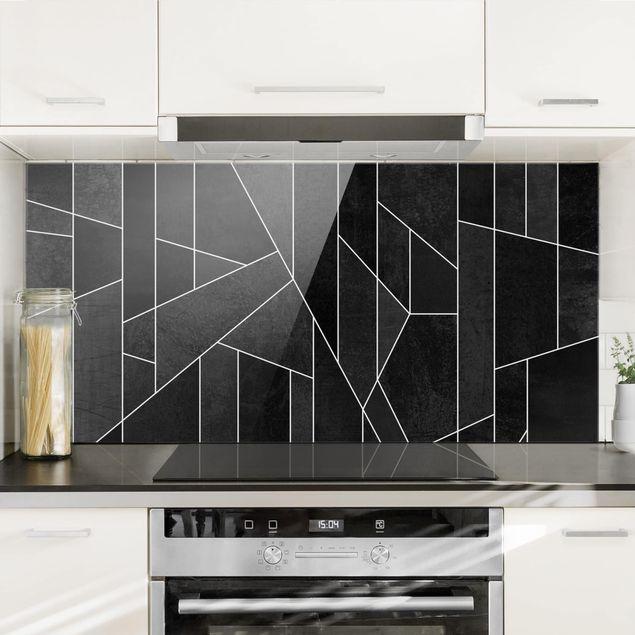 Spritzschutz Glas - Schwarz Weiß Geometrie Aquarell - Querformat 1:2