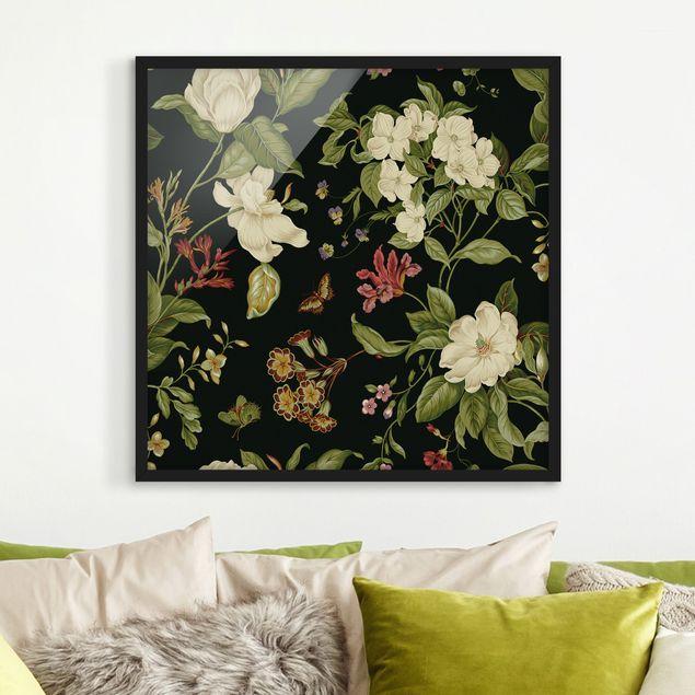 Bild mit Rahmen - Gartenblumen auf Schwarz II - Quadrat 1:1