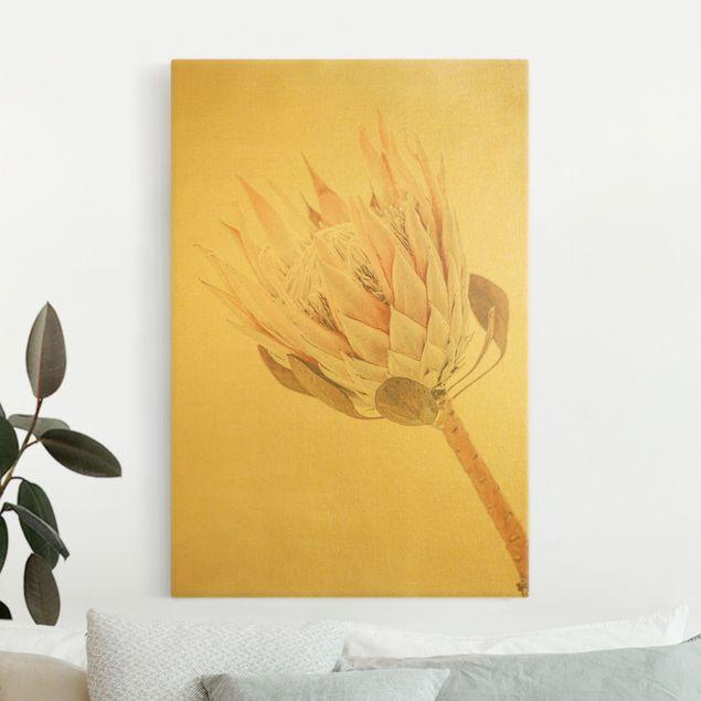 Leinwandbild Gold - Protea Königin der Blüten - Hochformat 2:3