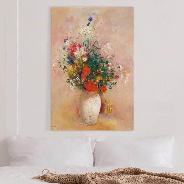 Leinwandbild - Odilon Redon - Vase mit Blumen (rosenfarbener Hintergrund) - Hochformat 3:2
