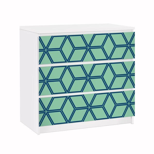 Möbelfolie für IKEA Malm Kommode - Klebefolie Würfelmuster grün