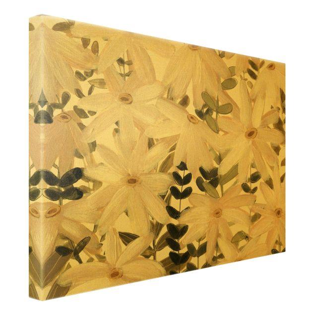 Leinwandbild Gold - Gänseblümchenfeld Weiß Gold - Querformat 4:3