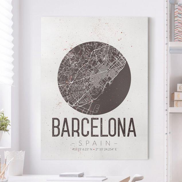 Leinwandbild - Stadtplan Barcelona - Retro - Hochformat 4:3
