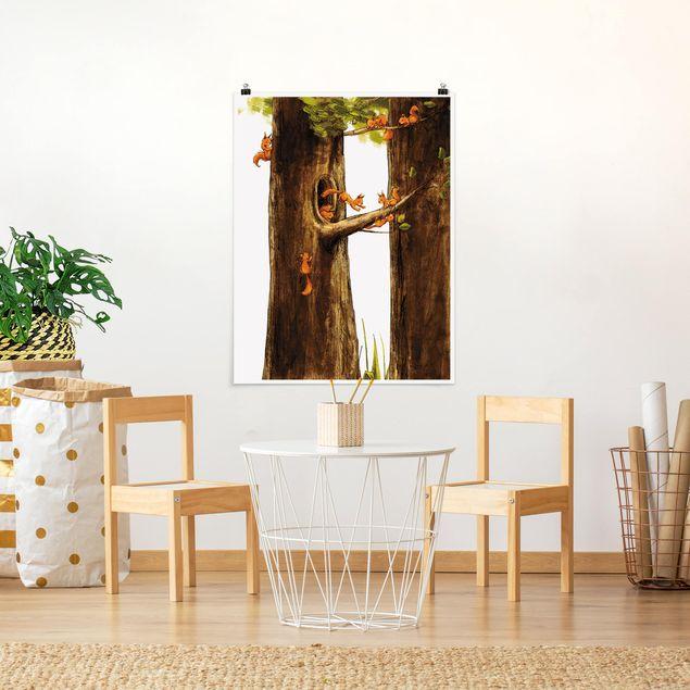 Poster - Zuhause der Einhörnchen - Hochformat 3:4