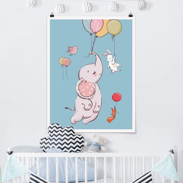 Poster - Elefant, Hase und Eichhörnchen fliegen - Hochformat 3:4