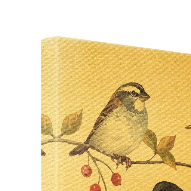 Leinwandbild Gold - Vögel und Beeren - Meisen - Quadrat 1:1