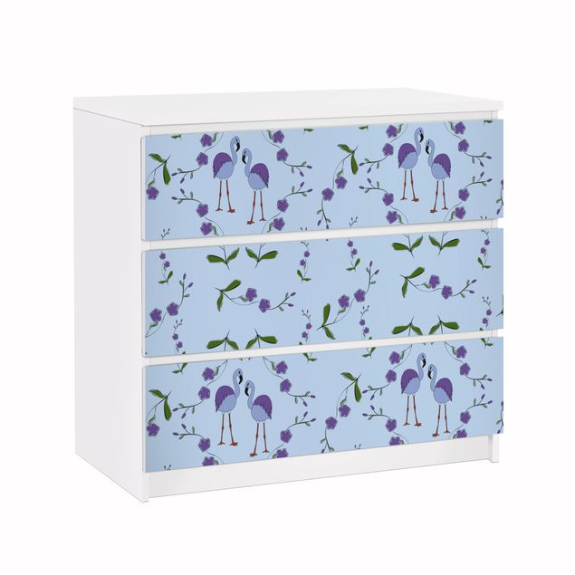 Möbelfolie für IKEA Malm Kommode - Klebefolie Mille Fleurs Musterdesign Blau