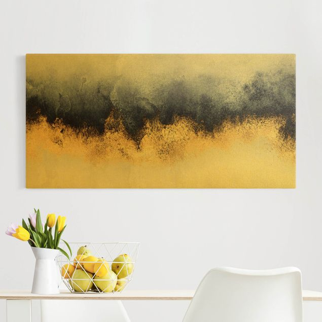 Leinwandbild Gold - Wolkenhimmel mit Gold - Querformat 2:1