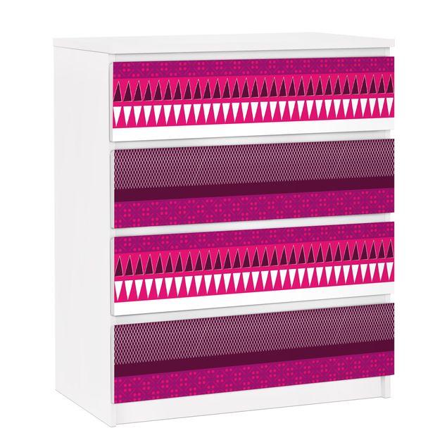 Möbelfolie für IKEA Malm Kommode - selbstklebende Folie Pink Ethnomix