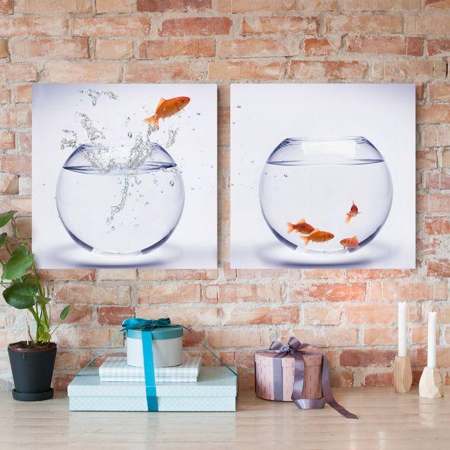 Leinwandbild 2-teilig - Flying Goldfish - Quadrate 1:1