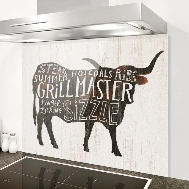 Glas Spritzschutz - Bauernhof BBQ - Rind - Querformat - 4:3