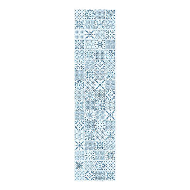 Schiebegardinen Set - Fliesenmuster Blau Weiß - Flächenvorhänge