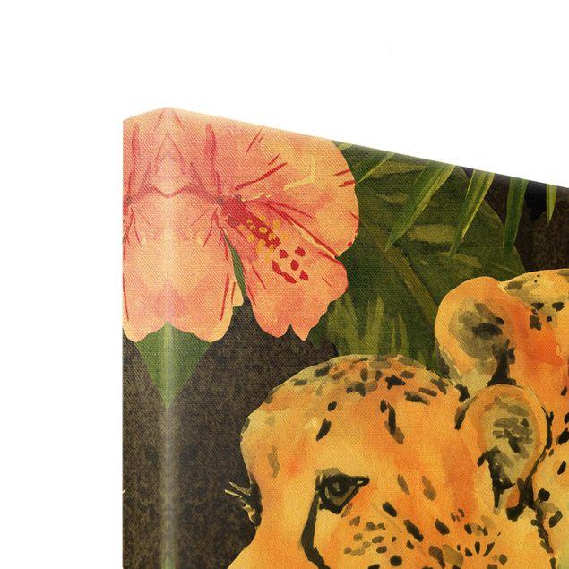Leinwandbild Gold - Gepardentrio im Dschungel - Querformat 4:3