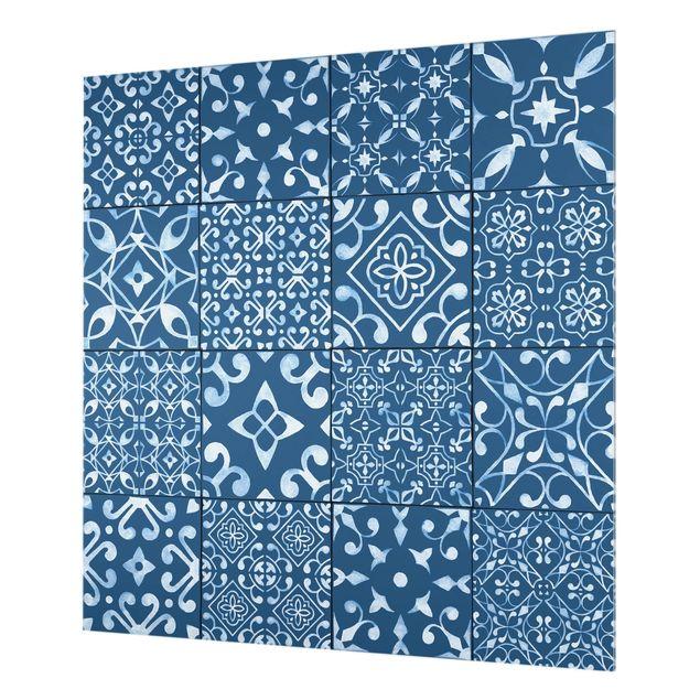 Glas Spritzschutz - Musterfliesen Dunkelblau Weiß - Quadrat - 1:1