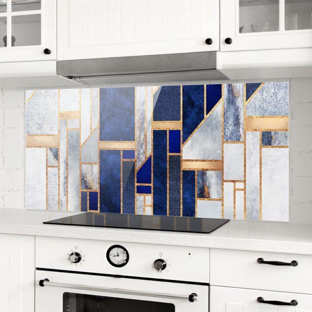 Spritzschutz Glas - Geometrische Formen mit Gold - Panorama
