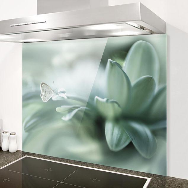 Glas Spritzschutz - Schmetterling und Tautropfen in Pastellgrün - Querformat - 4:3