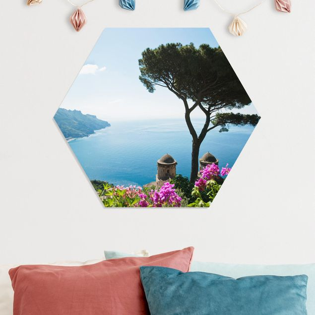 Hexagon Bild Forex - Ausblick vom Garten aufs Meer