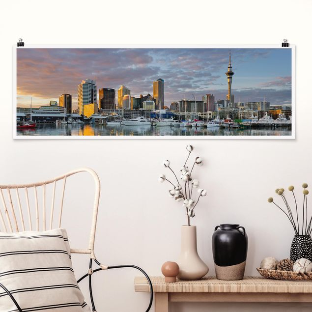 Poster - Auckland Skyline Sonnenuntergang - Panorama Querformat