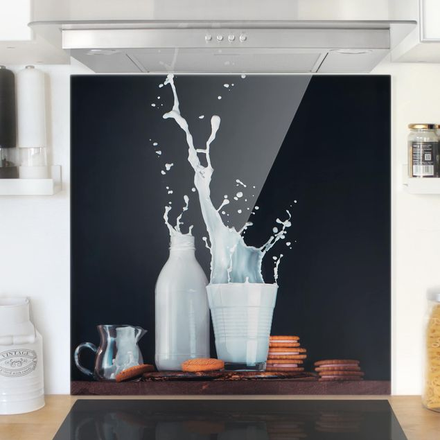 Glas Spritzschutz - Milch Komposition - Quadrat - 1:1