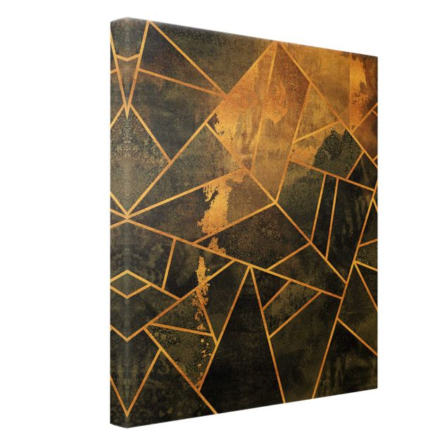 Leinwandbild Gold - Onyx mit Gold - Hochformat 3:4