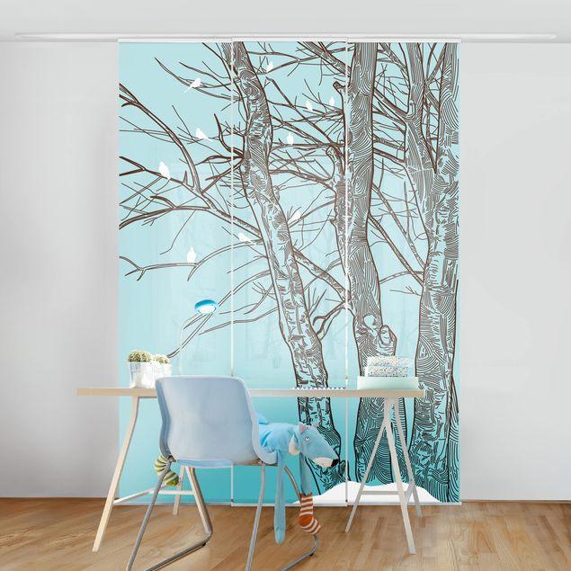 Schiebegardinen Set - Winterbäume - Flächenvorhänge