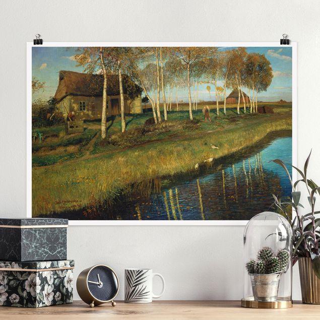 Poster - Otto Modersohn - Herbstmorgen am Moorkanal - Querformat 2:3