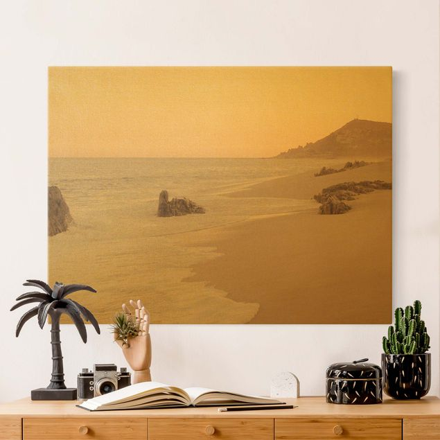 Leinwandbild Gold - Roségoldener Strand - Querformat 4:3
