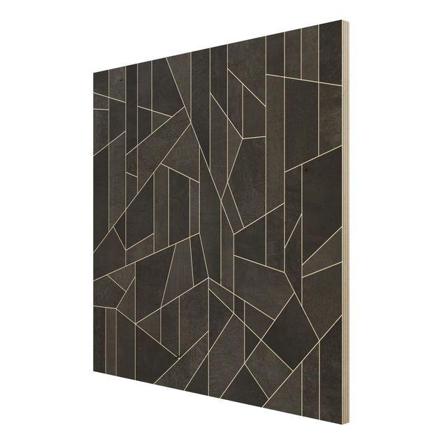 Holzbild - Schwarz Weiß Geometrie Aquarell - Quadrat 1:1