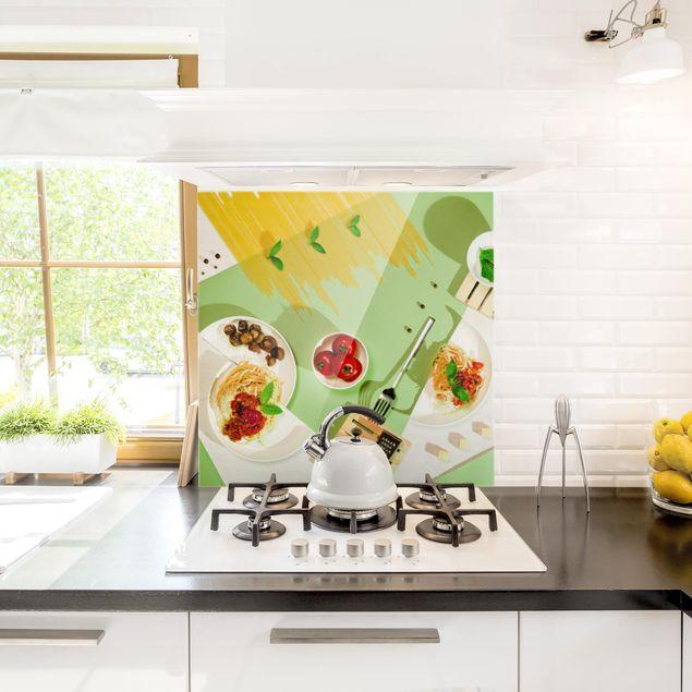 Glas Spritzschutz - Geometrie in der Küche - Quadrat - 1:1