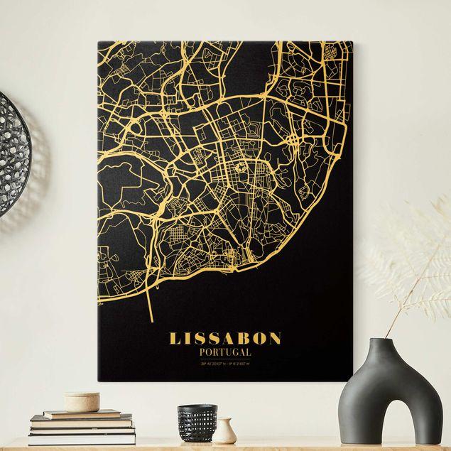 Leinwandbild Gold - Stadtplan Lissabon - Klassik Schwarz - Hochformat 3:4