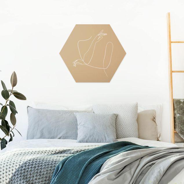 Hexagon Bild Forex - Line Art Hände Frau Beige