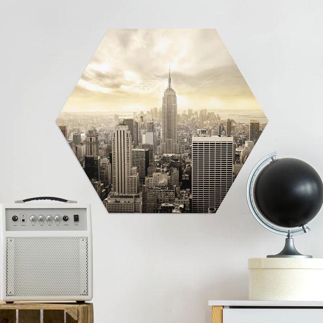 Hexagon Bild Alu-Dibond - Manhattan Dawn