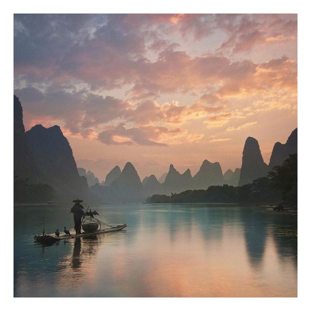 Forex Fine Art Print - Sonnenaufgang über chinesischem Fluss - Quadrat 1:1