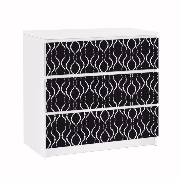 Möbelfolie für IKEA Malm Kommode - Klebefolie Punktmuster in Schwarz