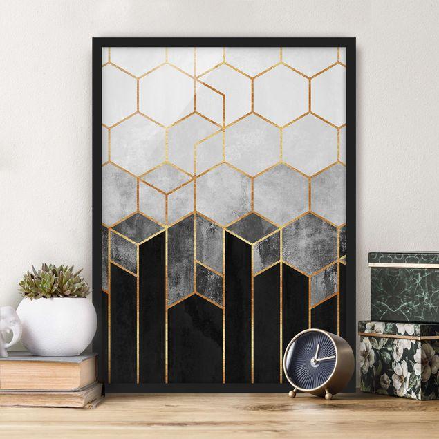 Bild mit Rahmen - Goldene Sechsecke Schwarz Weiß - Hochformat 4:3