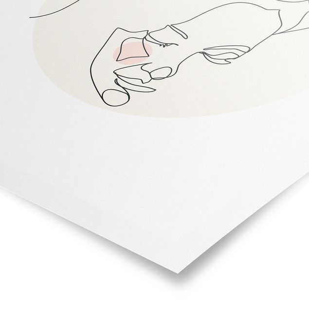 Poster - Zärtliches Paar Line Art - Hochformat 4:3