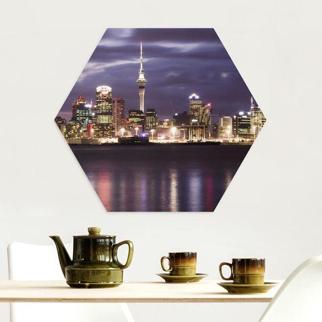Hexagon Bild Alu-Dibond - Auckland bei Nacht