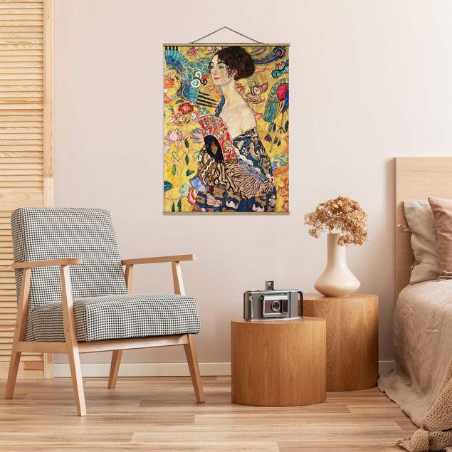 Stoffbild mit Posterleisten - Gustav Klimt - Dame mit Fächer - Hochformat 3:4