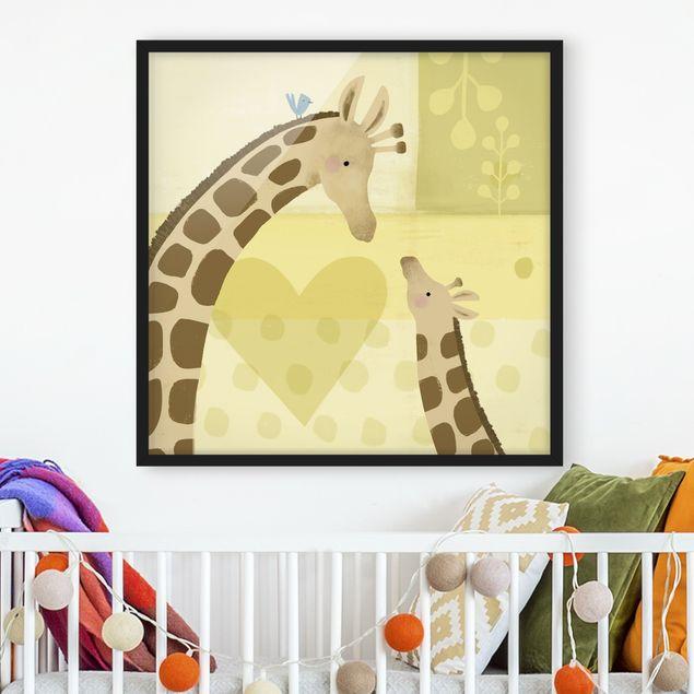 Bild mit Rahmen - Mama und ich - Giraffen - Quadrat 1:1