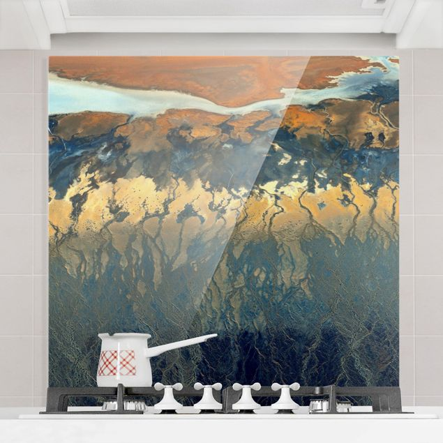 Glas Spritzschutz - Kalifornien aus der Luft - Quadrat - 1:1