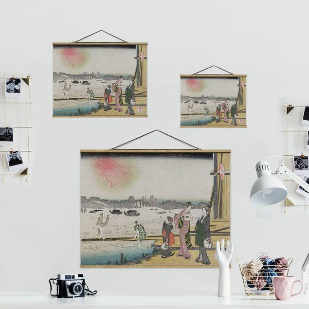 Stoffbild mit Posterleisten - Katsushika Hokusai - Ein kühler Abend in Ryogoku - Querformat 4:3