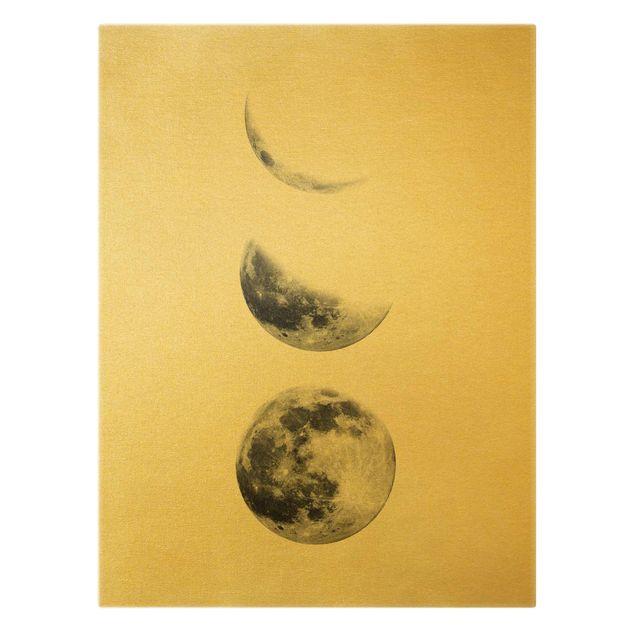 Leinwandbild Gold - Drei Monde - Hochformat 3:4