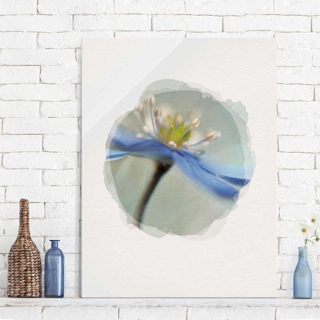 Glasbild - Wasserfarben - Tanzende Anemonen - Hochformat 4:3